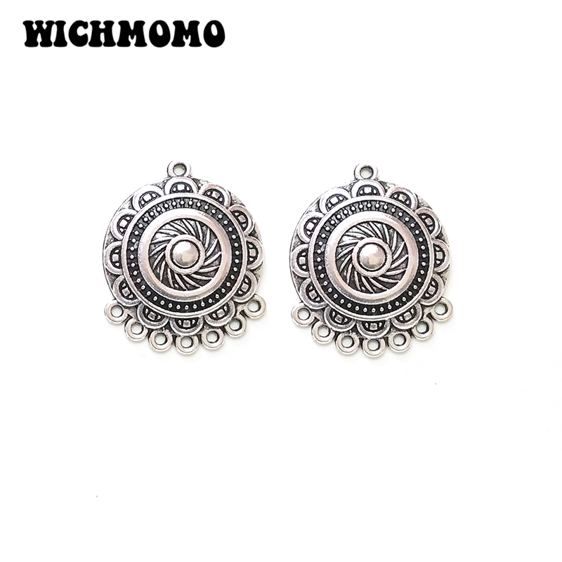 New Fashion 5pieces/bag 31mm Zinc Alloy  Round Flowers Porous Connector Charms Linker For DIY Necklace Jewelry Accessories