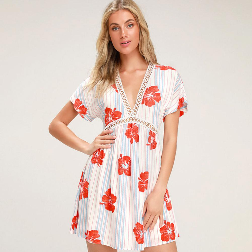 2019 New Yfashion Women Summer Fahion Dress V Collar Flower Printed Chiffon