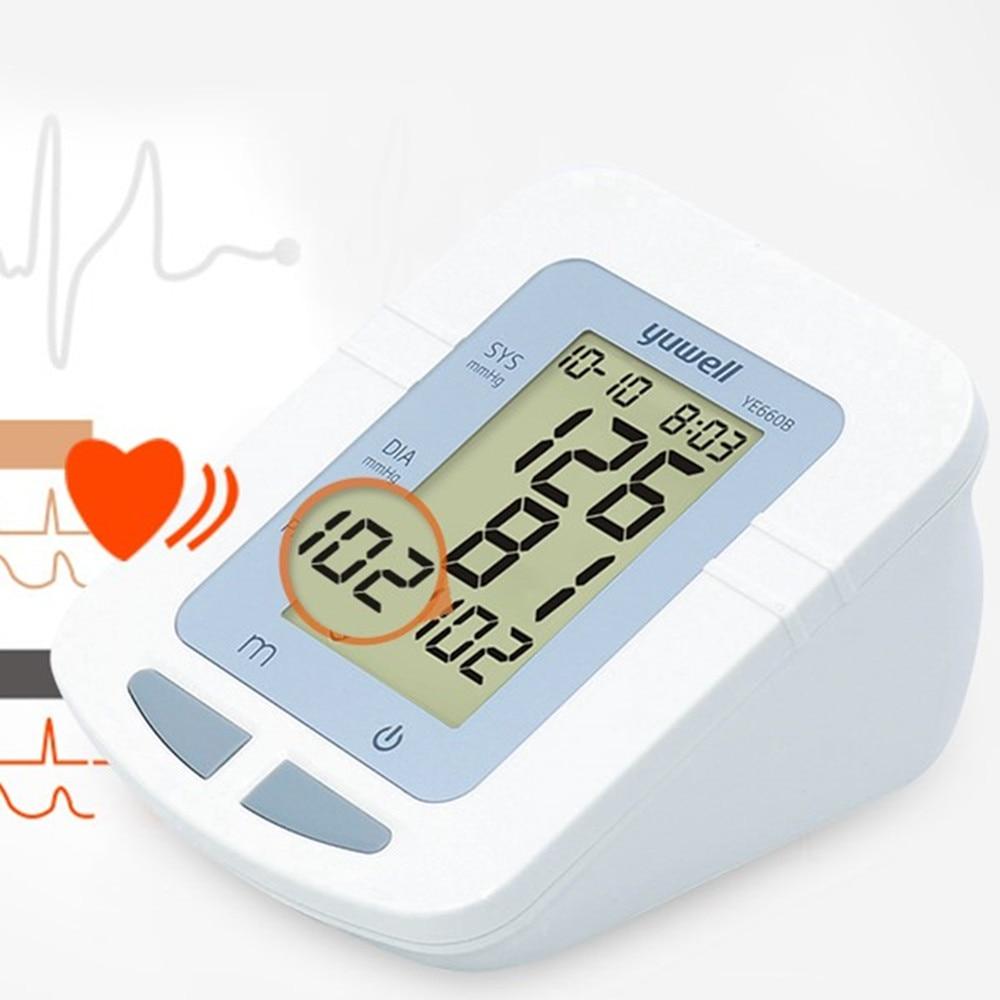 YUWELL brazo Monitor de presión arterial 3 años de garantía Super gran LCD brazalete precisa equipo médico esfigmomanómetro portátil