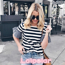 Fashion Women T Shirt Summer Casual Short-sleeved Flare Sleeve Striped Loose Tops Hot Girls T-shirt Blusas Laipelar