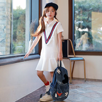 Girls Sport Dress Summer Short Sleeve Sweatshirt Dress Teen Girl Kids Fashion Casual Dresses 4 To