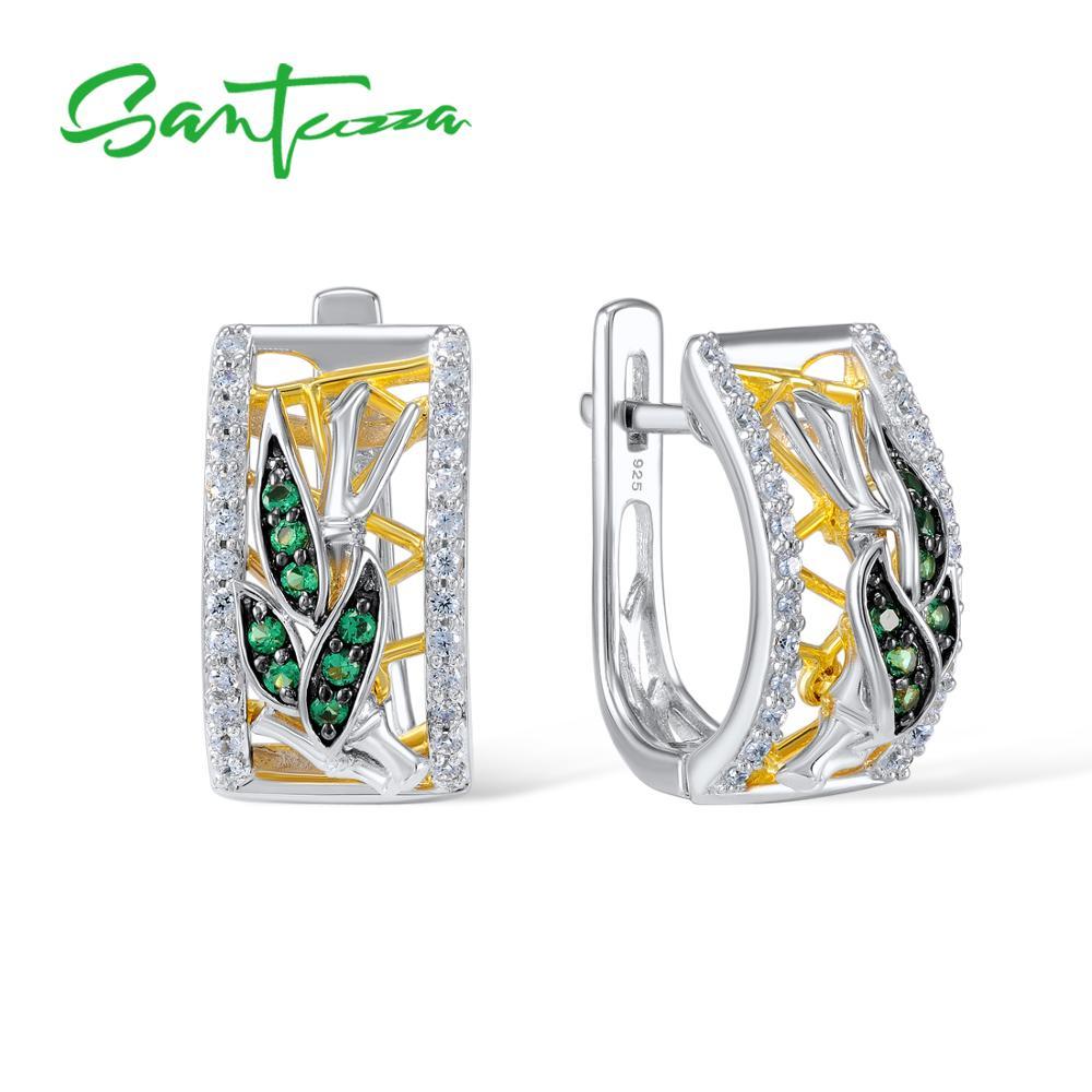 SANTUZZA Silver Earrings For Women Pure 925 Sterling Silver Luxury Sparkling Green Spinel Trendy Stud Earrings Fine Jewelry