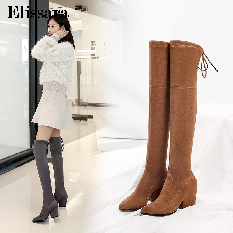 Women High Heels Over Knee Boots Shoes Ladies Pointed Toe Lace Up Winter Nightclub Thigh High Boots Shoes Size 34-43 ElissaraWomen High Heels Over Knee Boots Shoes Ladies Pointed Toe Lace Up Winter Nightclub Thigh High Boots Shoes Size 34-43 Elissara