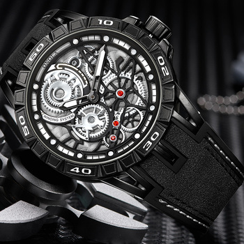 ONOLA Men's Unique Design Limited Military Black Mechanical Waterproof Japan Movement Quartz Watches 1