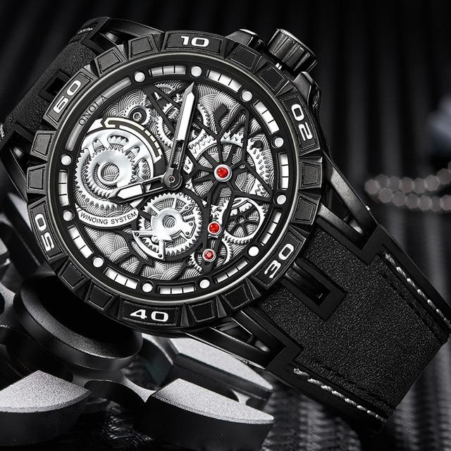 ONOLA Men's Unique Design Limited Military Black Mechanical Waterproof Japan Movement Quartz Watches 1