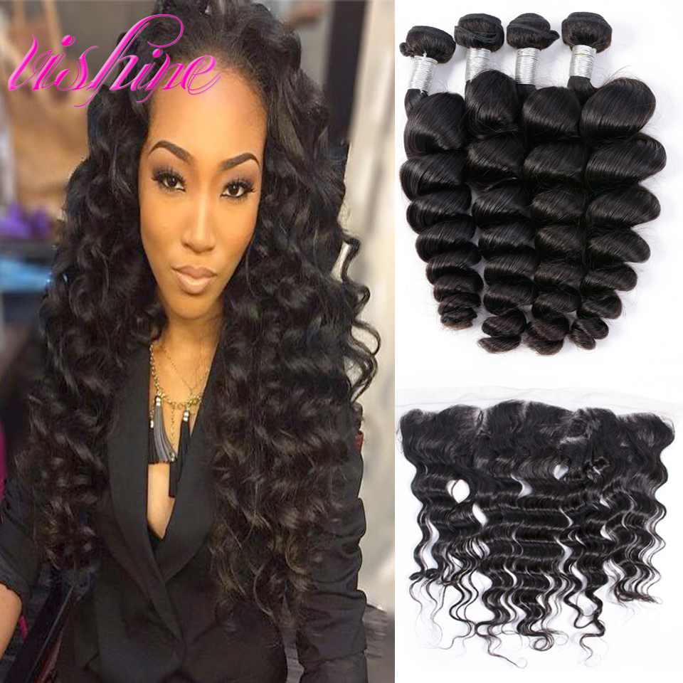 Brazilian Loose Wave With Ear To ar Closure Brazillian Virgin Hair Lace Frontal With Bundles Unprocessed Human Hair Weave