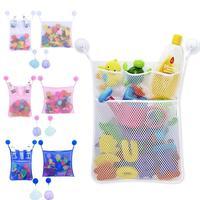 2PCS Set Folding Baby Bathroom Hanging Storage Bag Mesh Bath Net Suction Cup Basket Shower Kids