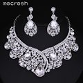 Mecresh Luxurious Teardrop Crystal Bridal Wedding Jewelry Sets Imitated Gemstone Necklace and Earrings Sets Free Shipping TL034