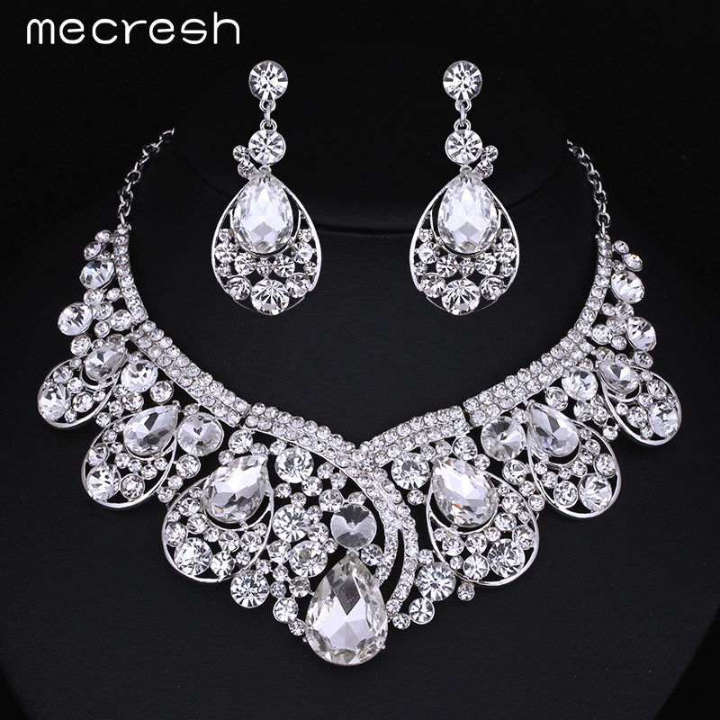 mecresh luxurious teardrop crystal bridal wedding jewelry