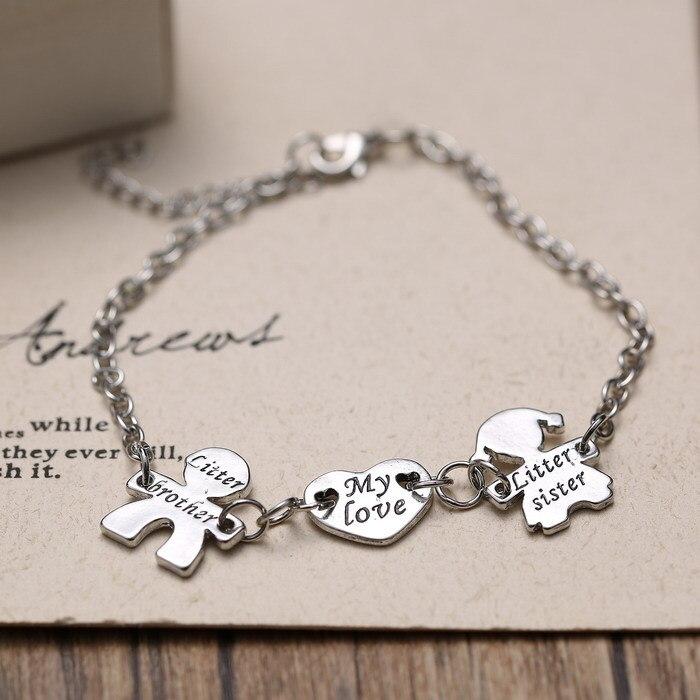 Exquis coeur soeur frère bracelet réglable Lettre Femmes Charmes Bracelets  vintage bracelet En Argent bracelets pour femmes hommes de la boutique en  ligne