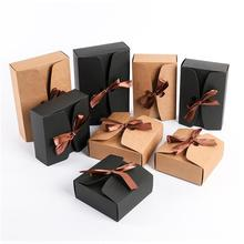 10PCS/LOT Kraft Paper Boxes with Ribbon,Wedding Favor Boxes,Black Cardboard Packing Box Large Party Gift