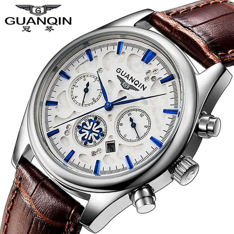 ФОТО Mens Watches Top Luxury Brand GUANQIN Fashion Quartz-Watch Genuine Leather Strap Business Sports Waterproof Relogio Masculino