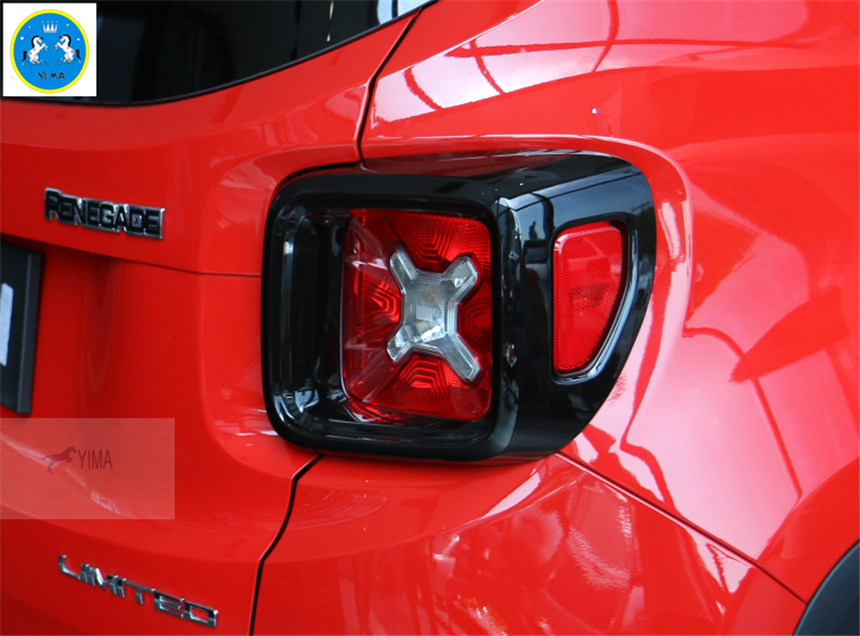 Lapetus Car Styling Rear Tail Trunk Lights Lamp Taillights Frame Cover Trim Fit For Jeep Renegade