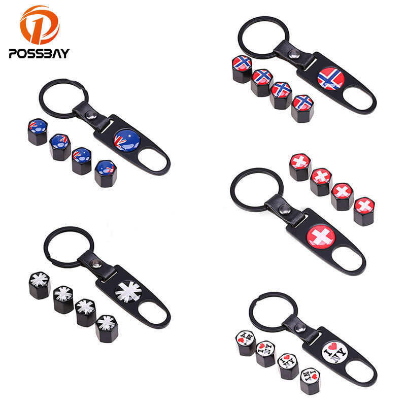 Frank Possbay Car Air Valve Caps Australian/england/i Love Ny/swiss/norway Flag Logo Badge Motorcycle Wheel Air Cover With Keychain Bright Luster