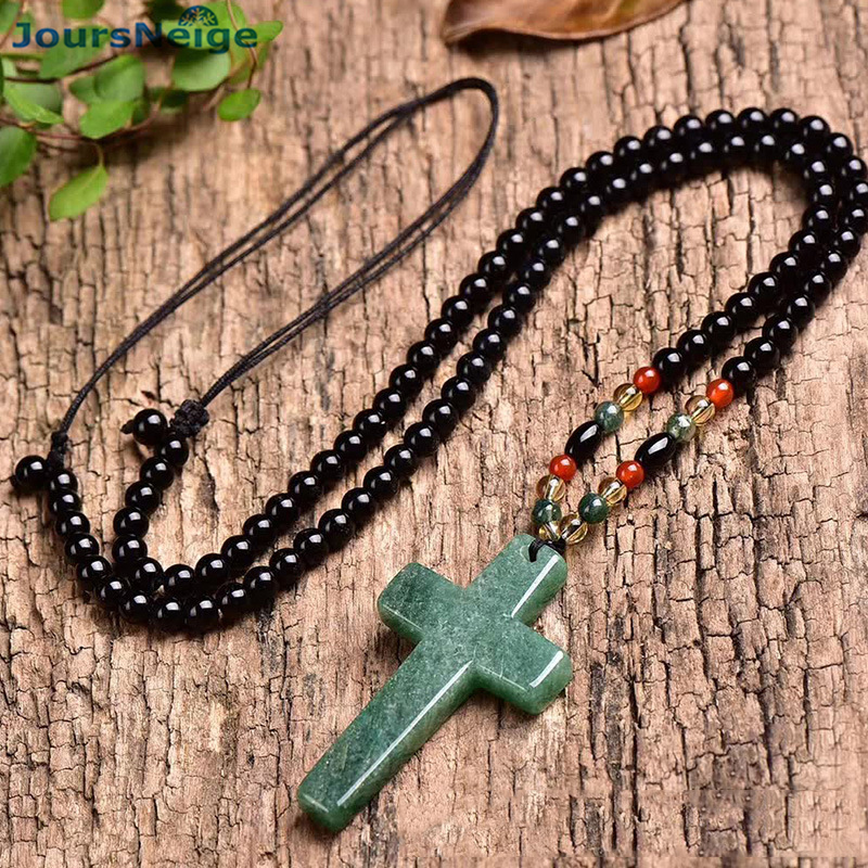 Wholesale White Green Natural Crystal Pendants Cross Pendant Necklace With Beads Chain For Women Men Women