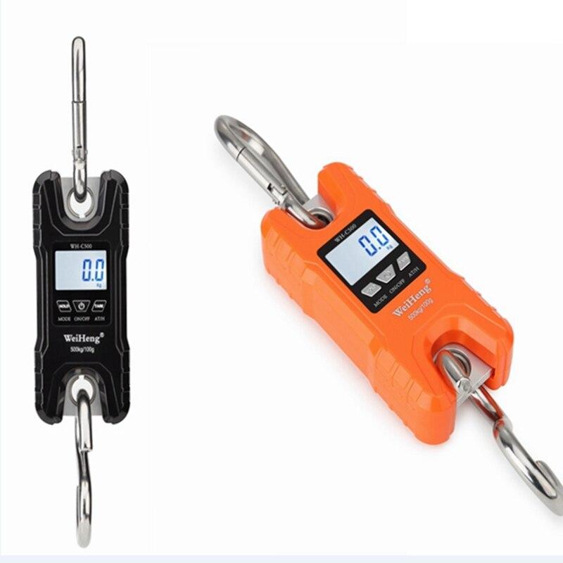 Mini échelle de grue 500 kg/100g Portable résistant numérique en acier inoxydable crochet échelles boucle bétail pêche Balance de pesage LCD