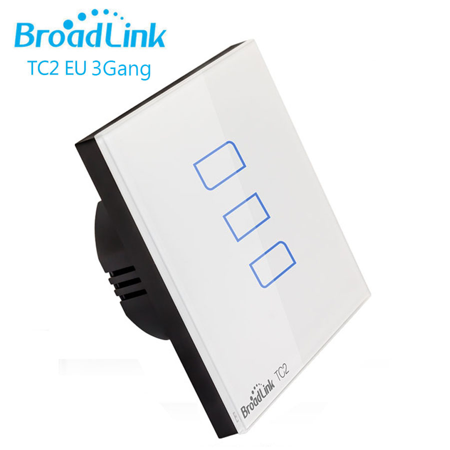 Broadlink TC2 Smart Home Switch EU Standard 3Gang Wall Light Touch Switch Wireless Remote Control via RM PRO RF433 170V-240V