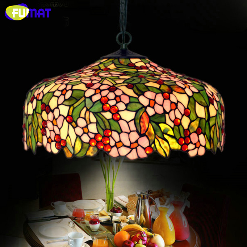 FUMAT Stained Glass Pendant Lamp Creative Art Apple Flower Rain Glass Beads Lights Living Room Restaurant Pendant Light Fixtures fumat stained glass pendant lights garden art lamp dinner room restaurant suspension lamp orchids rose grape glass lamp lighting