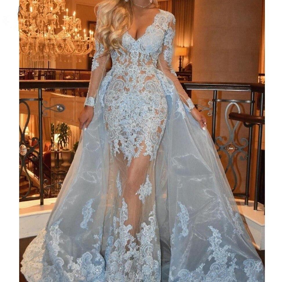 Blue Muslim   Evening     Dresses   2019 Mermaid V-neck Long Sleeves Tulle Lace Islamic Dubai Saudi Arabic Long   Evening   Gown Prom   Dress