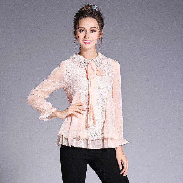 Camisa de Chifón con cuello en capas de encaje blusa de moño con cuentas  camisas de 64341e3b624