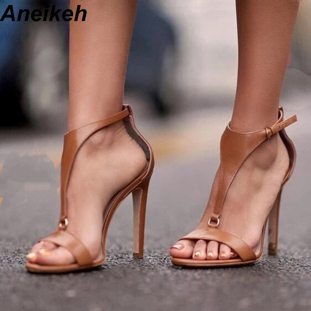 fa7a6134d8e6 Aneikeh NEW Brown T Strap Stiletto Heels Open Toe Sandals for Women Summer  Buckle Strap Gladiator