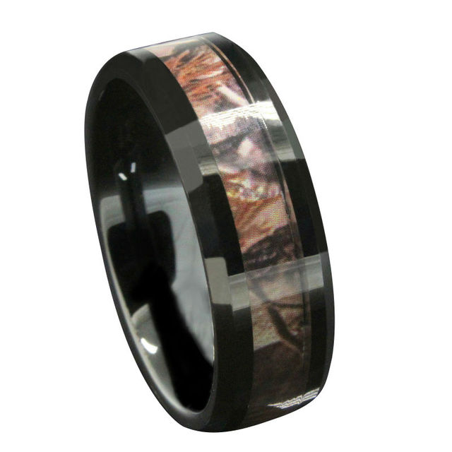 6mm 8mm Black Tungsten Wedding Bands Men S Red Forest Camouflage Camo Hunting Engagement Rings Size