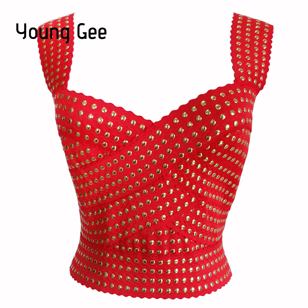 Young Gee Women's Sexy Bandage Crop Top Summer Punk Rivets Vest High Street Stretch Strap Back Zipper Tank Tops femme Streetwear