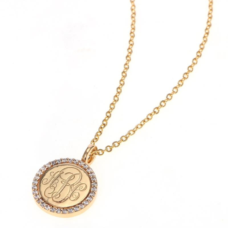 Duoying Gold Coin Letter Necklaces Personalized Custom