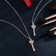 Brand Key Lock Pendant Necklaces For Woman Bijoux Long Crystal Necklace Rose Gold Silver Color Party Statement Jewelry