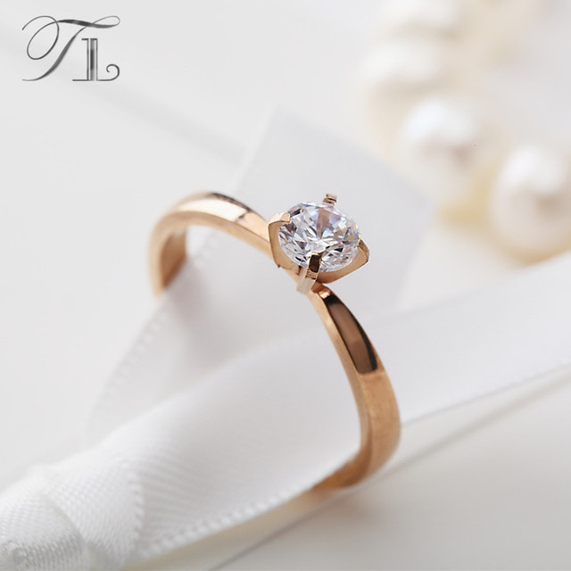 Tl Bridal Wedding Rings For Women New Simple Design Elegant Gold Color Cubic Zirconia Finger