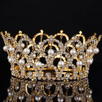 Big European Royal Crown Gold Or Silver Rhinestone Ruby Tiara Super Large Queen Crown Wedding Hair