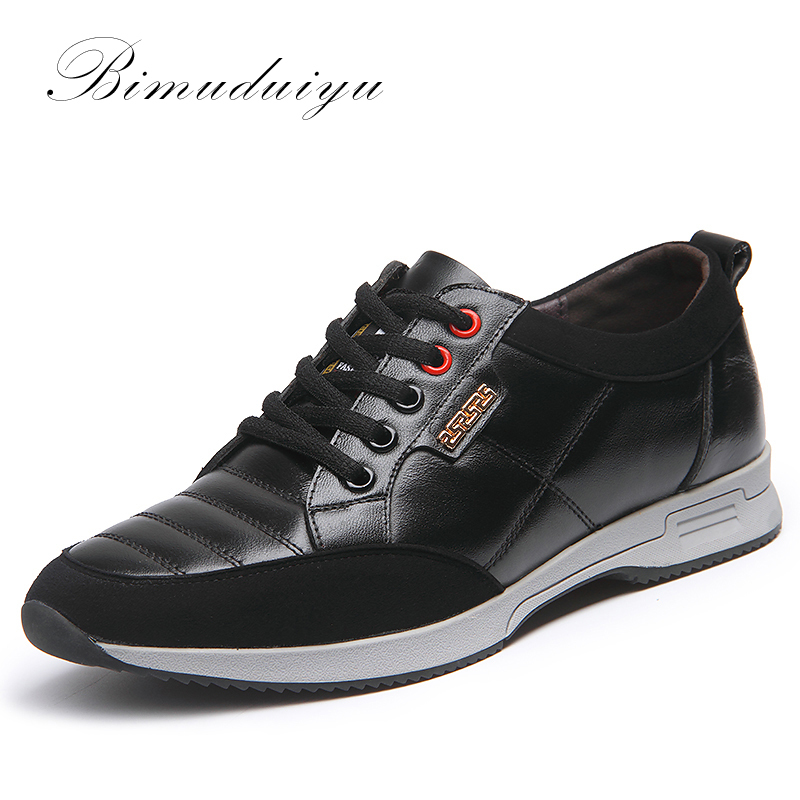 BIMUDUIYU Brand Genuine Leather Men Casual Shoes Comfortable Lace Up Breathable Fashion Sneakers Flat Student Shoes
