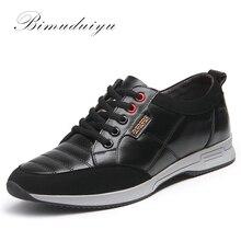 BIMUDUIYU marque en cuir véritable hommes chaussures décontractées confortable à lacets respirant mode baskets plat étudiant chaussures