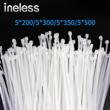 100Pcs/bag 5*500mm high quality width 6.8mm White color Factory Standard self-locking Plastic nylon cable ties wire zip tie