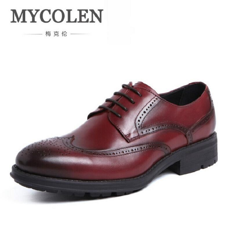 MYCOLEN Italian Lace Up Men Genuine Leather Men Wedding Brogue Formal Dress Business Party Office Black Oxford Shoes Scarpe