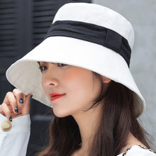 f6f0afa4 HT2257 Korea Style Panama Hat Bucket Flat Top Foldable Cotton Hat Fisherman  Casual Spring Summer Wide Brim Sun Hats Women Caps