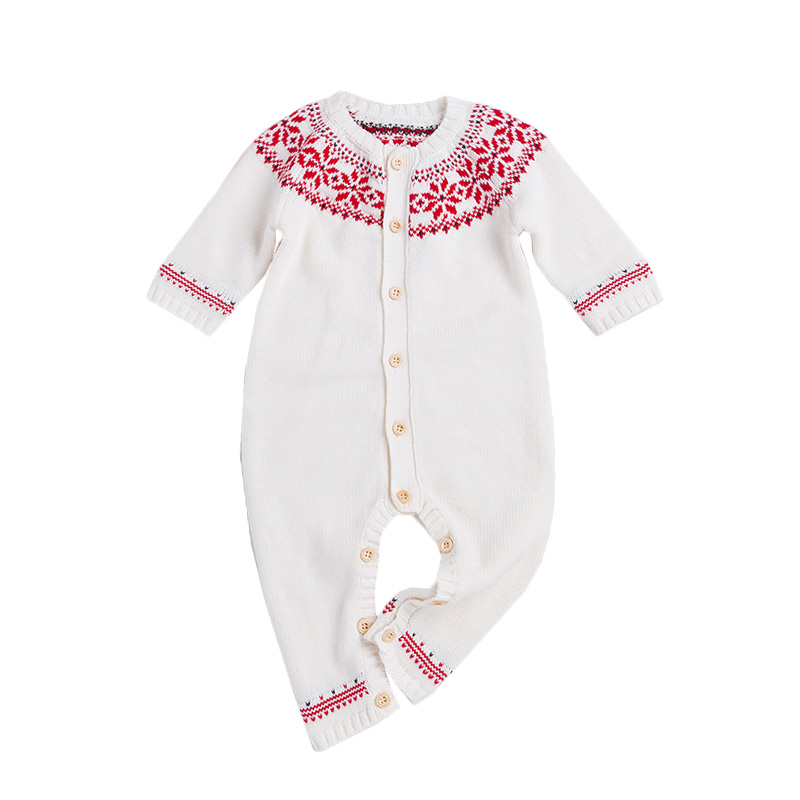 Spring Autumn Baby Cotton Knit Rompers Baby Girl Long-sleeve Knitted Overalls Infant Girl Floral Embriodery Bebes Infant Clothes warm thicken baby rompers long sleeve organic cotton autumn