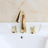 Free Shipping Wash Basin Mixer luxury high quality brass gold plating crystal handle widespread basin faucet sink faucet