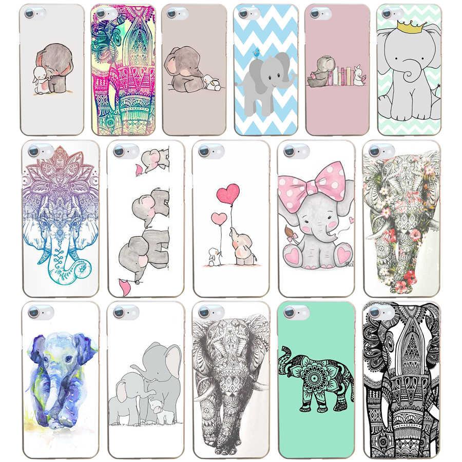 Mandala Indische Olifant Tribal Tattoos Aztec Hard Transparant Cover Case Voor Iphone 4 4 s 5 5 s Se 6 6 s 8 Plus 7 7 Plus X