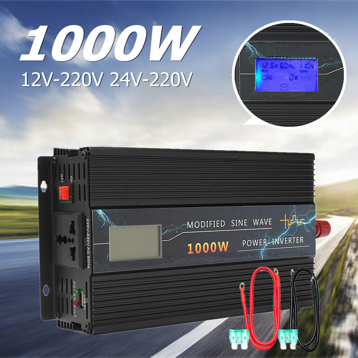 1000W Car Modified Sine Wave Power Inverter Converter DC 12V/24V To AC 220V LCD 50Hz Intelligent Fan Over Voltage Protection 1600w автомобильный инвертор 4 usb 12v 24v до 220v dual digital display of protection voltage modefied sine wave car inverter co