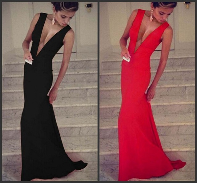New 2014 Red or black sexy Plunge deep V-neck Sleeveless Evening Dress hot  sale Long gowns maxi dresses women dd3ed3b65