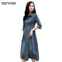 2018 новое осеннее платье высокого качества женское платье с отложным воротником три четверти рукав джинсовое платье с вышивкой длинное плат