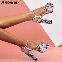 Aneikeh 2019 Summer Fashion Snake Pattern Platform Buckle High Square Heels Sandals