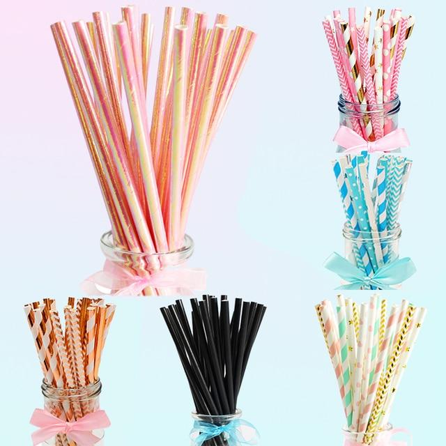 Heronsbill 25 шт. бумажные питьевые соломинки Беби-Шауэр для мальчиков и девочек на день рождения, свадебные украшения для вечеринок, детские столовые принадлежности для взрослых, золотые