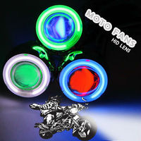 Hot Sales HID Xenon Projector Lens For Motorcycle Bulb Shroud Green Angel Eye Blue Devil Eye