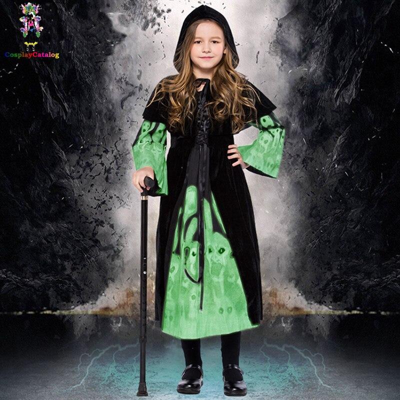 Halloween Scary Skull Costumes Girl/Kids Skull Costume Children's Night Glitter Witch Dress High 100-145cm Child Terror Clothes