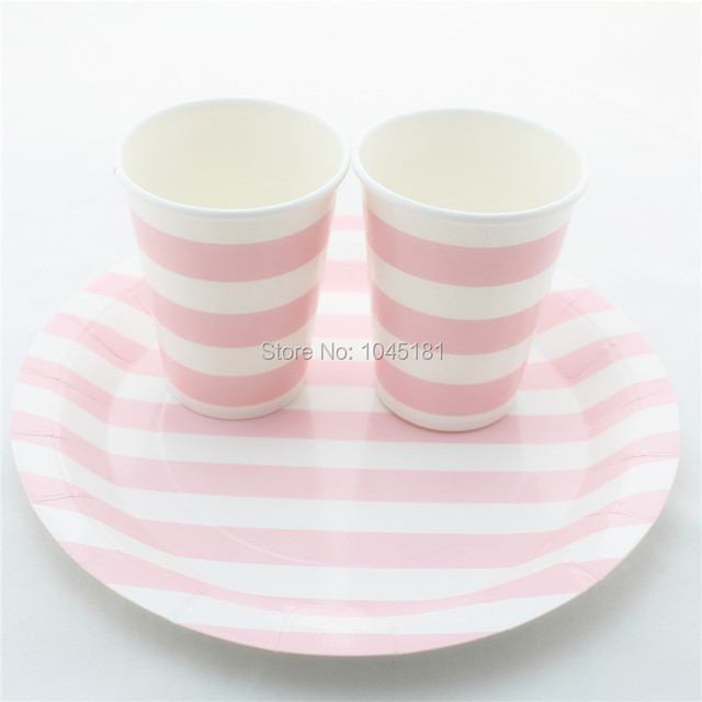 ipalmay Free Shipping 9  Striped Paper Plates 9 OZ Paper Cups for Baby Shower Wedding & ipalmay Free Shipping 9