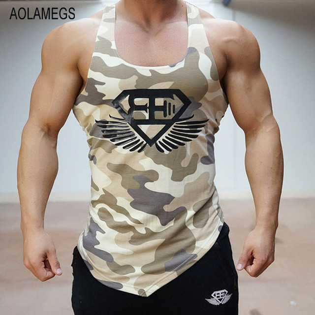 Aolamegs Топы тренажеры профессиональные gymshark бодибилдинг мышцы мужская камо жилет спортивные камуфляж майка спортивная