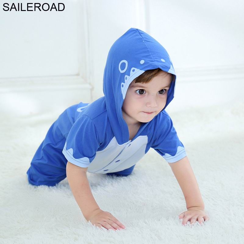 SAILEROAD Shark Romper Baby Cartoon Children Blanket Sleepers Kegurumi For Kids Pajama Boys Hooded Sleepwear Summer 2019