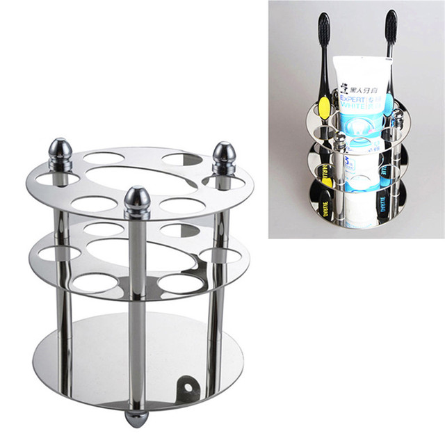 Stainless Steel Toothbrush Rack Holder Bathroom Accessories Wall Mounted  Toothpaste Razor Holder Toothbrush Toothpaste Storage